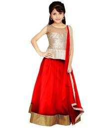 Maroon embroidered net semi stiched  kids lengha choli with dupatta shop online