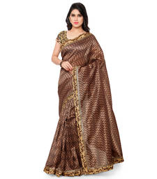 Buy coffee printed tussar silk saree With Blouse tussar-silk-saree online