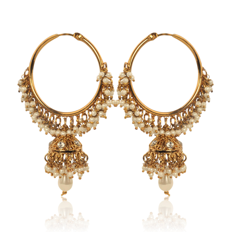 Brilliant  Gold Tops Earrings With Filigree Work In Three Tone Finish Earring
