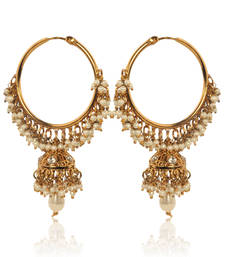 White Hoop Earrings with Pearls by ADIVA ABSWE0BI0028 TDS 6 shop online