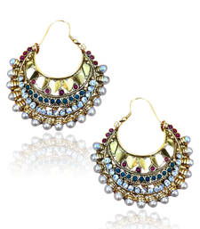Buy Red Green bali earring with golden hearts ha86 DDS 8 hoop online
