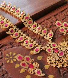 Buy Awesome semiprecious ruby bridal necklace set necklace-set online