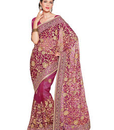 Buy Fabdeal Party Wear Magenta Colored Net Saree net-saree online