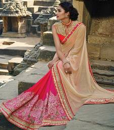 Buy beige embroidered lycra saree With Blouse wedding-saree online