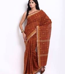 Buy Traditional Deep Orange Checkered Cotton Saree SDF38A cotton-saree online