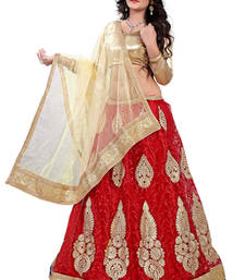 Buy Red Embroiderd Net lehenga-choli lehenga-choli online