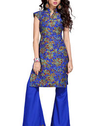 Buy Blue poly cotton printed unstitched salwar dress-material online