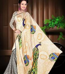 Buy off_white printed satin saree With Blouse satin-saree online