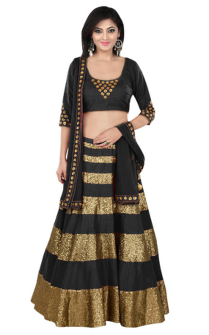 Where To Buy Bed Sheets Buy Black Dhupion Party Wear ghagra choli Online