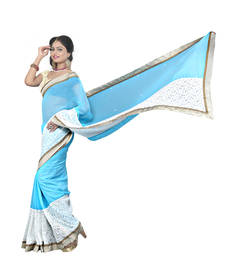 Buy sky blue brasso georgette saree With Blouse brasso-saree online