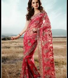 Buy Attractive Red & Salmon Embroidered Saree wedding-saree online