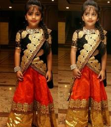 Buy Red plain soft net kids lehenga choli kids-lehenga-choli online