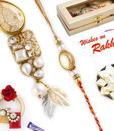 Buy Golden Beads Feather Style Bhaiya Bhabhi Rakhi Set rakhi-international online