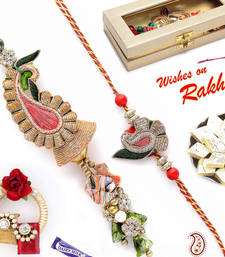 Buy Heavy Zardozi Work Keri Design Bhaiya Bhabhi Rakhi Set rakhi-international online