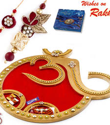 Buy Beautiful Red Base OM Rakhi Pooja Thali with Set of Bhaiya Bhabhi Rakhis rakhi-international online
