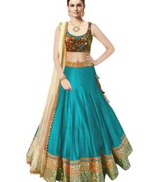 Buy Tourquise silk embroidered unstitched lehenga choli lehenga-below-1000 online