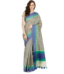 Buy grey embroidered cotton saree With Blouse cotton-saree online
