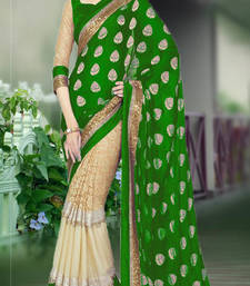 Buy green embroidered georgette saree With Blouse half-saree online