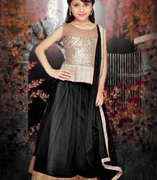Buy Black plain net kids lehenga choli kids-lehenga-choli online