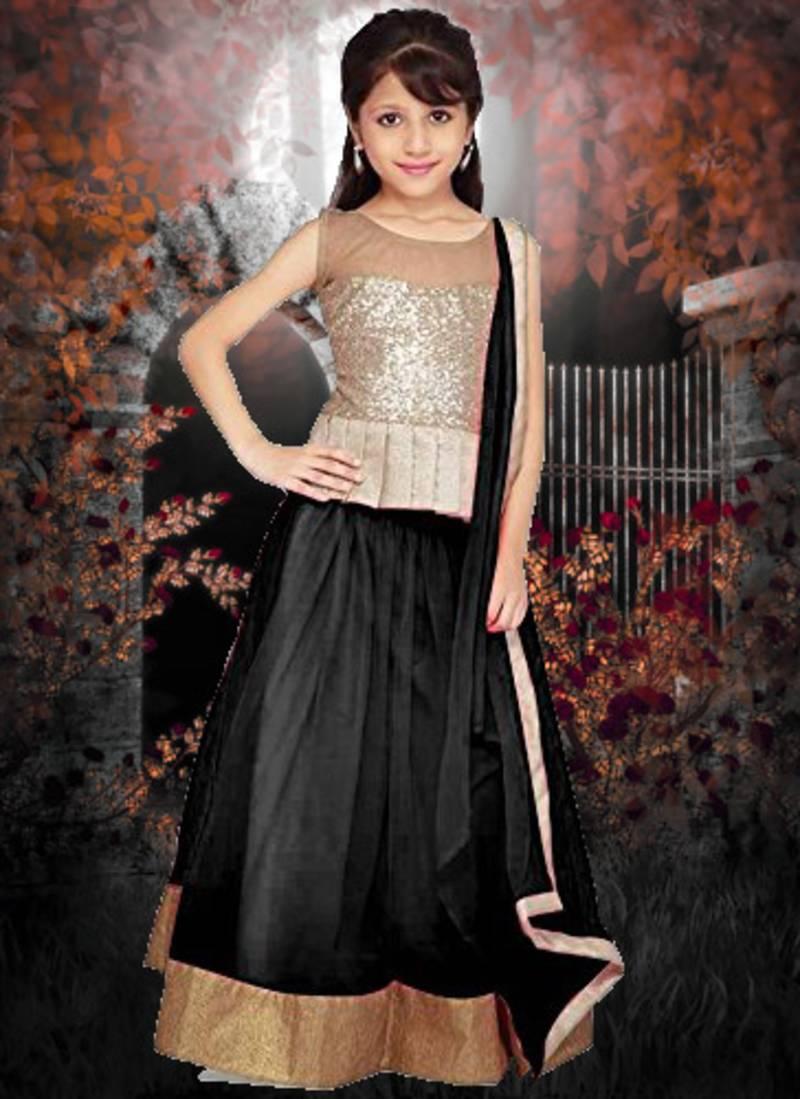 Buy Black plain net kids lehenga choli Online