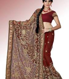 Buy Maroon net saree with blouse (anc464) net-saree online
