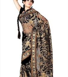 Buy Black net saree with blouse (anc465) net-saree online