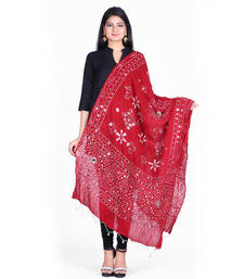 Buy Red cotton embellished bandhej dupatta stole-and-dupatta online