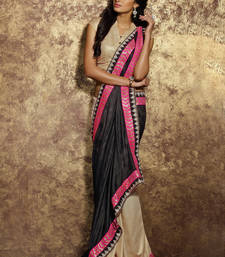 Buy black embroidered viscose saree With Blouse viscose-saree online