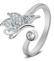 Buy Silver White Butterfly Ring with CZ Stones engagement-ring online