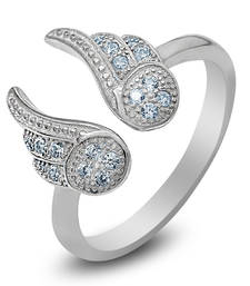 Buy Silver Angel Wings Ring With CZ Stones wedding-ring online