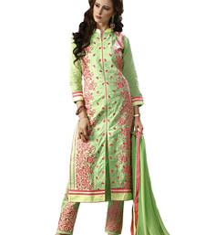 Buy Light green embroidered cotton unstitched salwar with dupatta gifts-for-sister online