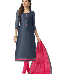 Buy Greyish blue embroidered banarasi chanderi unstitched salwar with dupatta gifts-for-sister online