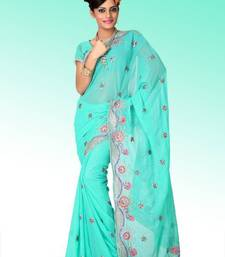 Buy Turquoise faux shimmer georgette saree with unstitched blouse (ant620) georgette-saree online