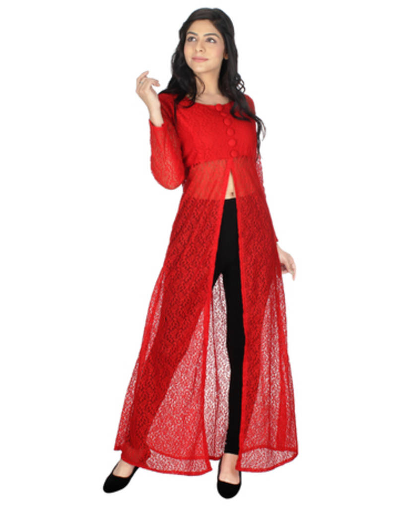 Buy Red Net Printed Stitched Kurti Online