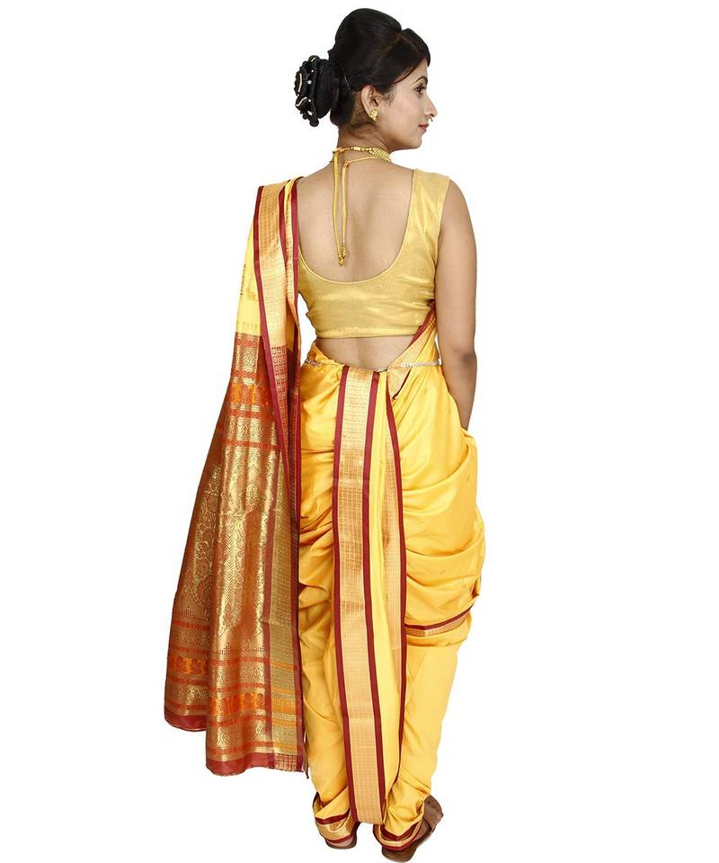 Buy Yellow Plain Cotton Silk Nauvari Saree Online