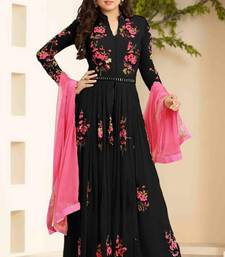 Buy Black georgette embroidered semi stitched salwar with dupatta collar-neck-design online