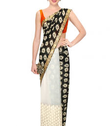Buy Black and white embroidered net saree with blouse net-saree online