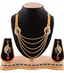 Buy Exclusive Peacock Design Multicolor Five Layer Gold Finishing Necklace Set bridal-set online