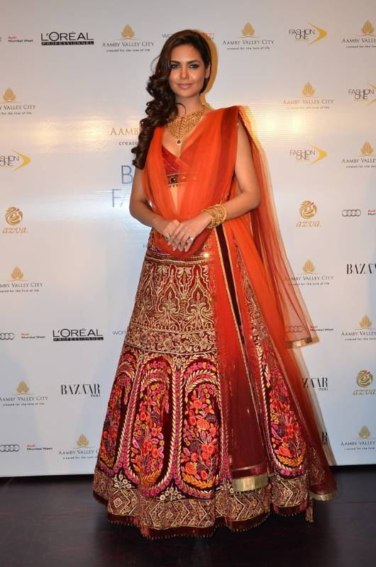 bridal orange lehenga