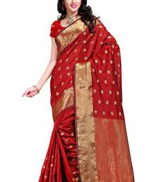 Buy red hand woven tussar silk saree With Blouse tussar-silk-saree online