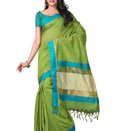 Buy green hand woven linen saree With Blouse cotton-saree online