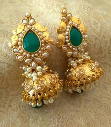 Buy Gorgeous Green Bandani Golden Pearls Jhumka Earrings jhumka online