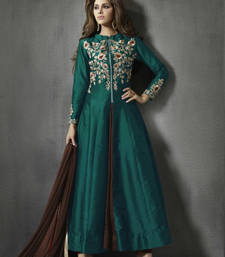 Buy Green embroidered art silk unstitched salwar with dupatta dress-material online