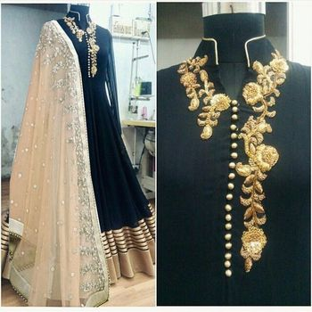 black bhagalpuri silk embroidered semi stitiched salwar with dupatta