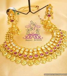 Buy Beautiful Gold Look Kundan Necklace set  Necklace online