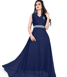 Buy Navy dark blue georgette plain semi stitched party wear gown party-wear-gown online