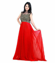 Buy Red georgette embroidered stitched party wear gowns party-wear-gown online