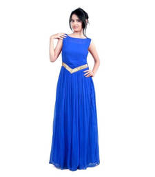Buy Blue georgette plain stitched party wear gowns party-wear-gown online