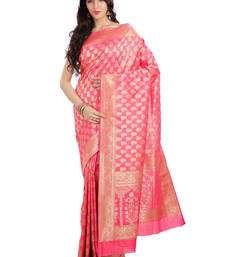 Buy dark baby pink embroidered banarasi saree With Blouse party-wear-saree online