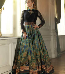 Buy Black georgette hand  woven semi stitched salwar with dupatta party-wear-gown online